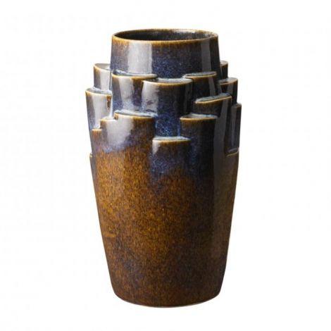 Knabstrup Plateau, vase, limiteret, blå/brun, 40 cm - 300 stk.