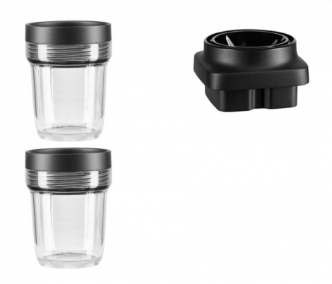 KitchenAid Minihakker-sett til K400 Blender Klar / Sort - 3 deler