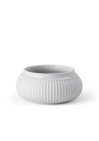 Lyngby Porselen Curve Lysestake til kubbelys Ø11 cm hvit