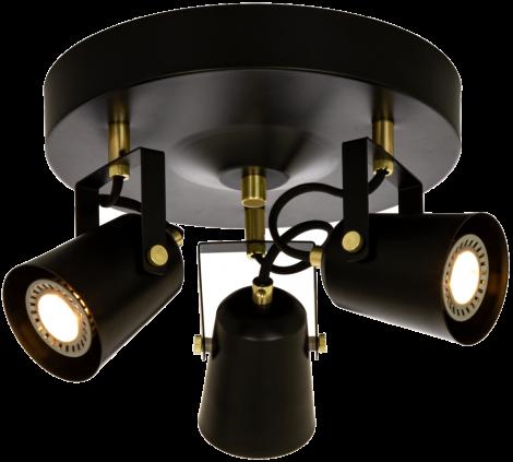 Aneta Lighting Metz Takspot 3 lys Sort Messing