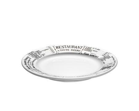 Pillivuyt Brasserie tallrik platt vit / svart - 17 cm