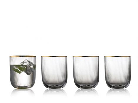 Lyngby Glass Palermo Gold Vannglass 35 cl 4-pk. Levering november -21.