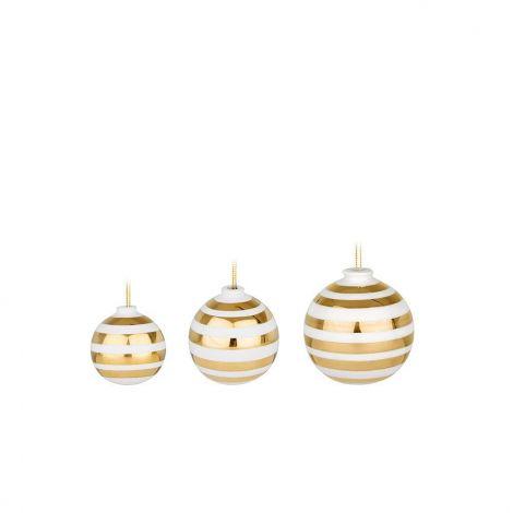 Kähler Omaggio Christmas Ball Gold 3 st