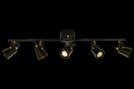 Aneta Lighting Metz Takspot 5 lys L99 Sort Messing