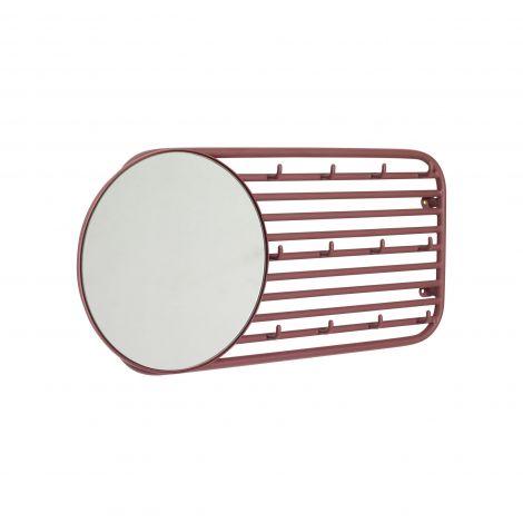 Hübsch Knaggrekke m/ Speil Metall Rød
