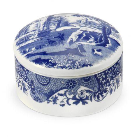 Blue Italian Round Trinket Box