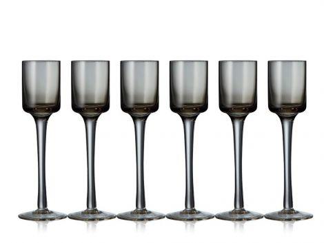 Lyngby Glass Snapsglas Grå 6st