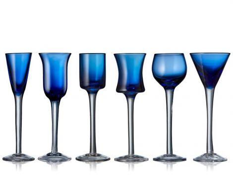 Lyngby Glass Snapseglas Blå 6st