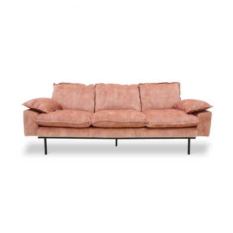 HKliving Retro Sofa 3-Seter Fløyel Rosa