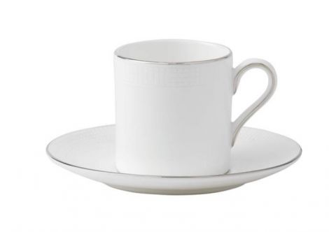 Wedgwood Vera Wang Blanc Sur Blanc Espresso Cup & Saucer