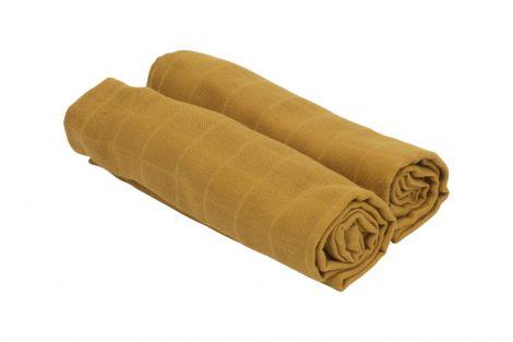 Cozy tyg 2-pack bambu / ekologisk bomull senap